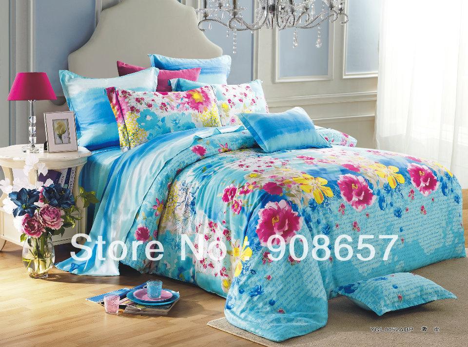 Profundo flor rosa skyblue imprime luxo Tencel tecido 800 fios contagem Queen / roupa de cama completa conjunto de cama quilt / capas de edredão 4 pc(China (Mainland))