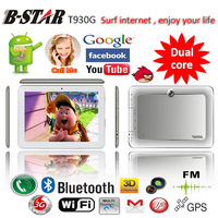 Free shipping B-STAR T930G 9 inch android MTK6577 dual-core 2G 3G GSM SIM phone tablet pc dual Cameras WIFI Bluetooth FM GPS