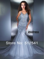 Spaghetti Luxury Pom Long Dresses 2013 Trumpet Mermaid Open back Floor length Organza crystal Beads MK08L39