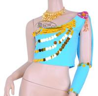 Belly dance top set clothes dance leotard oblique top - blue