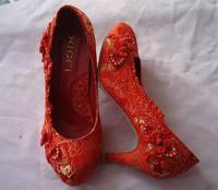 2013  cheongsam  bridal wedding  high-heeled , female shoes red