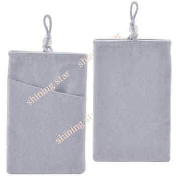 free shipping mobile phone bag Velvet Pouch Bag Sock For Apple iPhone 5 4S HTC Samsung Soft Light Gray S12109