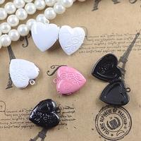 18*4mm mix pink/white/black painted color locket, custom lockets, cheap heart lockets tibetan enamel double heart pendant charm