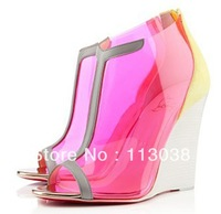 new design women red sole colorful transparent wedge sandals