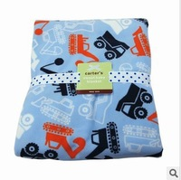 Original Carter baby Boy Soft  Fleece Blanket   excavator Pattern   high quality receiving blanket    102cm*76cm