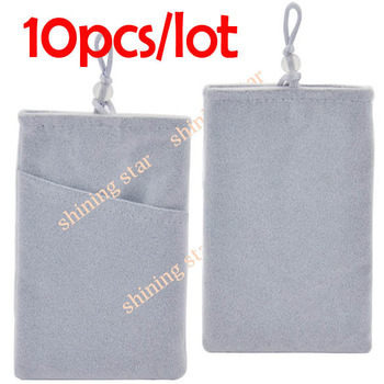 10pcs/lot Soft Light Gray Velvet Pouch Bag Sock For Apple iPhone 5 4S HTC Samsung, mobile phone bag phone bag Hot sale S12109