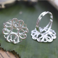 20PCS Silver Plate Spiral Heart Round 18mm Blank Setting Adjustable Rings #22676