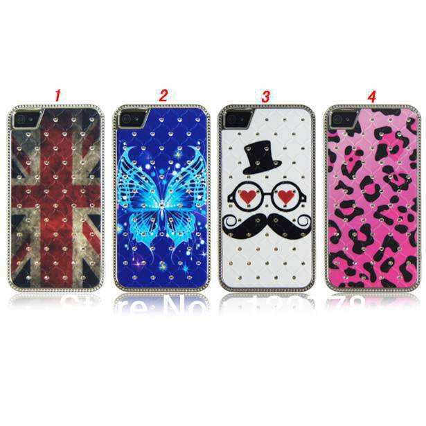 Free Shipping 3D Diamond Blue Color Butterfly National Flag Leopard Sexy Beard Hard Back Cover Aluminum Case for iPhone 4 4S(China (Mainland))