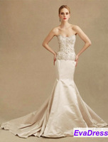 2013 Sleeveless Off Shoulder Sweetheart Applique Embroidery Beaded Court Train Satin Bridal Dress Mermaid Wedding Gowns