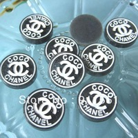 Free Shipping 20pcs/Lots Very Hot and Kawaii Clear Round  LOGO Resin cabochons (24mm) Black For Any Fancy