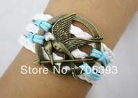 Free Shipping 12pcs/lot Alloy Hunger Game Bird Charm Bracelet Handmade Bracelet Adjustable Bracelet UN24123
