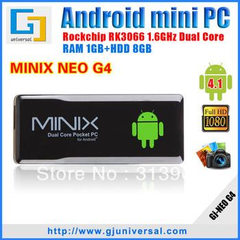 100% Original MINIX NEO G4 android mini pc with Remote Control RK3066 smart tv box Dual Core Cortex A9 1G/8G