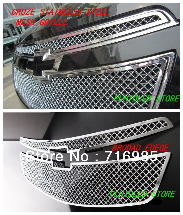 2009-2012 Chevy Cruze Stainless Steel Mesh Grille Grill Insert (Broad Edge)(China (Mainland))