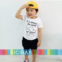 Boys Summer Cartoon Suits Elephant Sets Kids Wear, Elephant Tshirts + Casual Shorts,Free Shipping K0500