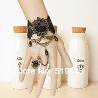 B514 Steampunk Black rose pearl Bracelets vampire lace half jewels china Vintage Gothic vampire fashion bracelet jewelery stock