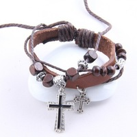 Min.order is $10 (mix order)  62G30  Men's jewelry ! Multi-layer leather Cross bracelet  for men women jewelry !Free shipping!