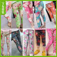 Wholesale 2014 New Spring Autumn 100-140cm Children Kids Girls Cotton Prints Pants Trousers, 5 sizes/lot each color,11 Colors