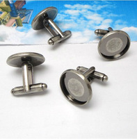 10PCS Antiqued Silver 16mm Round Blank Settings Cuff Links #22703