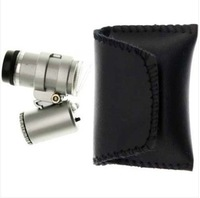 Free shipping 45X 2 LED Mini Portable Pocket Microscope Magnifier Jeweler Loupe, dropshipping
