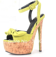 Women Suede Leather Bowtie High Heels Sexy Wooden Platform Pumps Genuine Leather Sandal Shoes