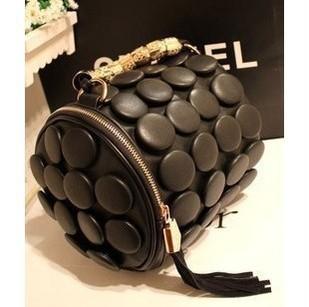 Hot Sale Buttons cylinder bag multifunctional women's bucket bag handbag one shoulder cross-body  polka dot