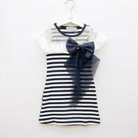 2013 summer female child one-piece dress 100% cotton stripe big bow short-sleeve dress