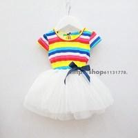 2013 summer female child 100% cotton short-sleeve puff   layered  dress