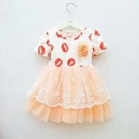 2013 summer red female child princess dress 100% cotton short-sleeve dress tulle dress