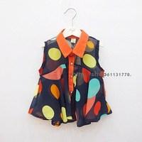 2013 summer female child doll dot chiffon shirt sleeveless skirt suit