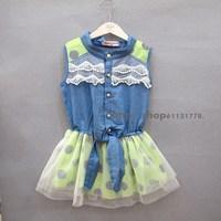 2013 summer female child lace decoration denim chiffon dot yarn one-piece dress