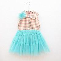 2013 summer female child plaid sleeveless one-piece   puff  princess  dress