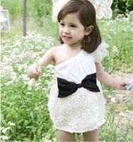 2013 summer female child one shoulder flying wing rose princess formal dress one-piece dress