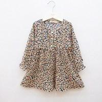 2013 spring female child vintage chiffon long-sleeve dress