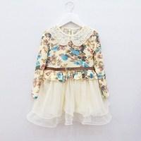 Child 2013 spring lace collar long-sleeve dress belt tulle dress princess dress
