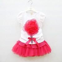 2013 summer female child three-dimensional flower short-sleeve T-shirt lace puff skirt twinset