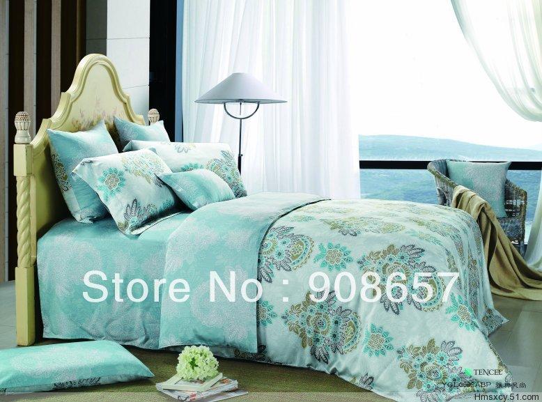 Nova europa turquesa impresso luxuoso Tencel tecido 800 contagem da linha Queen / Full size cama conjuntos de roupa de cama quilt / capas de edredão(China (Mainland))