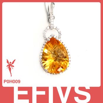 Elegant large natural citrine gem stone necklace pendants