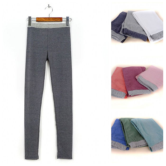 2013 spring new gray waist stitching hit color stretch tight nine points leggings cotton Brushed feet pants 12 colors(China (Mainland))