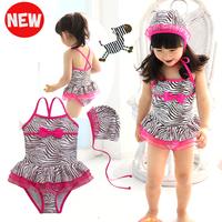 New arrival 2014 girls beachwear child zebra print one-piece swimsuit child swimwear baby swimwear princess swimming equipment