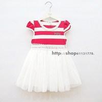 2013 summer female child 100% cotton stripe short-sleeve dress tulle dress princess dress