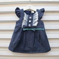Children 2013 spring female child denim bow vest dress tank dress