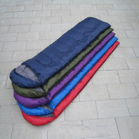 Free shipping outdoor camping envelope style hooded thin hollow cotton sleeping bag multicolor 800g