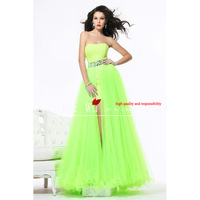 Free Shipping  2013 new Fashion Custom made Colorful Cheap Blue Chiffon With Slin  Prom  Dress