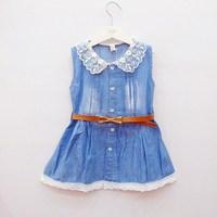 2013 summer female child 100% cotton lace collar sleeveless denim one-piece dress belt
