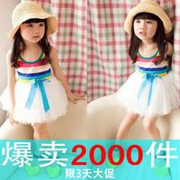 2013 girls summer clothing one-piece chiffon  child princess tulle dress