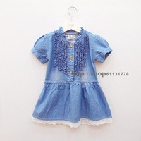 2013 summer female child ruffle hem short-sleeve casual denim  one-piece  dress