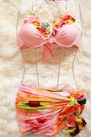 Free shipping Pink lace decoration halter-neck womens push up korean bikini set piece set belt mantillas korean bikini swimwear