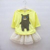 2013 summer female child cartoon bear 5 quarter sleeve t-shirt tulle dress bust skirt set