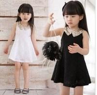 2013 summer female child ladies paillette lace decoration bow vest one-piece dress