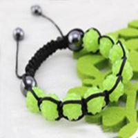 Christmas Gift (Minimum $ 5) 00026Disco Magnetite Ball Beads Macrame Crystal Shamballa Bracelet XMAS Gift Jewelry  Grass-green